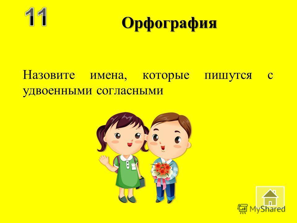 Орфография Назовите имена, которые пишутся с удвоенными согласными