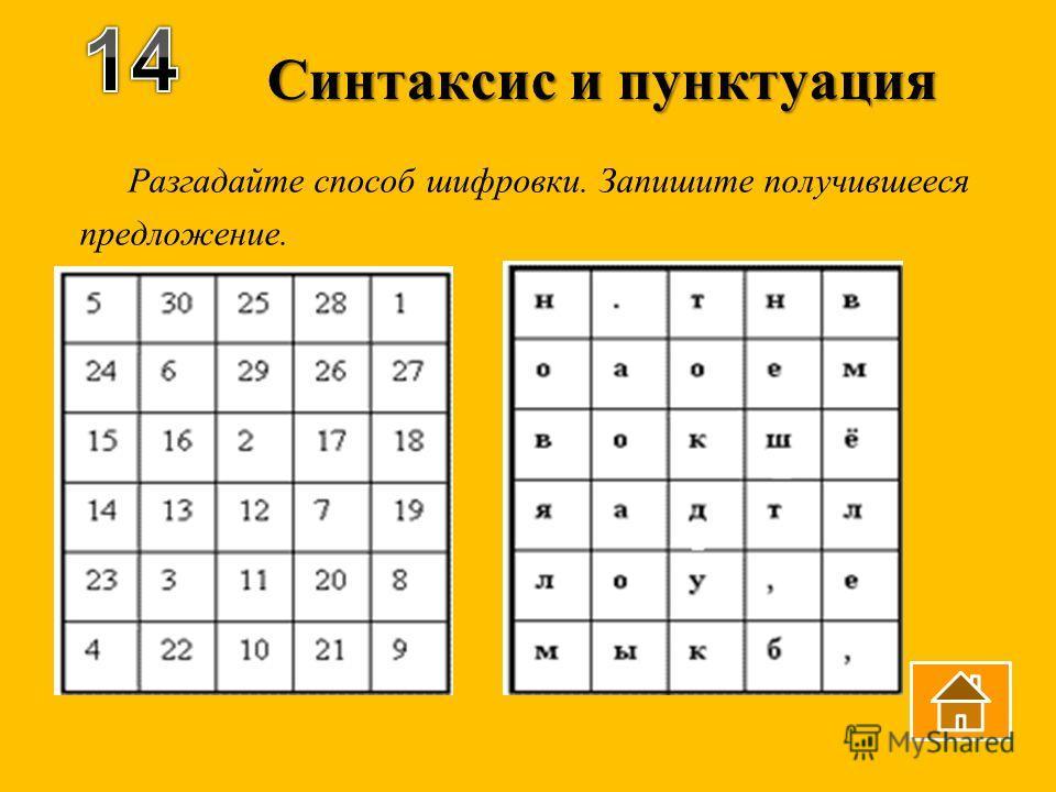 Синтаксис и пунктуация Разгадайте способ шифровки. Запишите получившееся предложение.