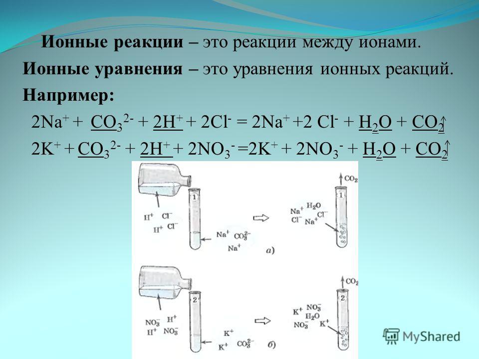 . Ионные реакции – это реакции между ионами. Ионные уравнения – это уравнения ионных реакций. Например: 2Na + + CO 3 2- + 2H + + 2Cl - = 2Na + +2 Cl - + H 2 O + CO 2 2K + + CO 3 2- + 2H + + 2NO 3 - =2K + + 2NO 3 - + H 2 O + CO 2