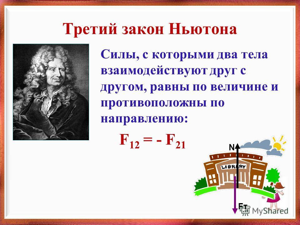 Третий закон Ньютона Силы, с которыми два тела взаимодействуют друг с другом, равны по величине и противоположны по направлению: F 12 = - F 21 FтFт N