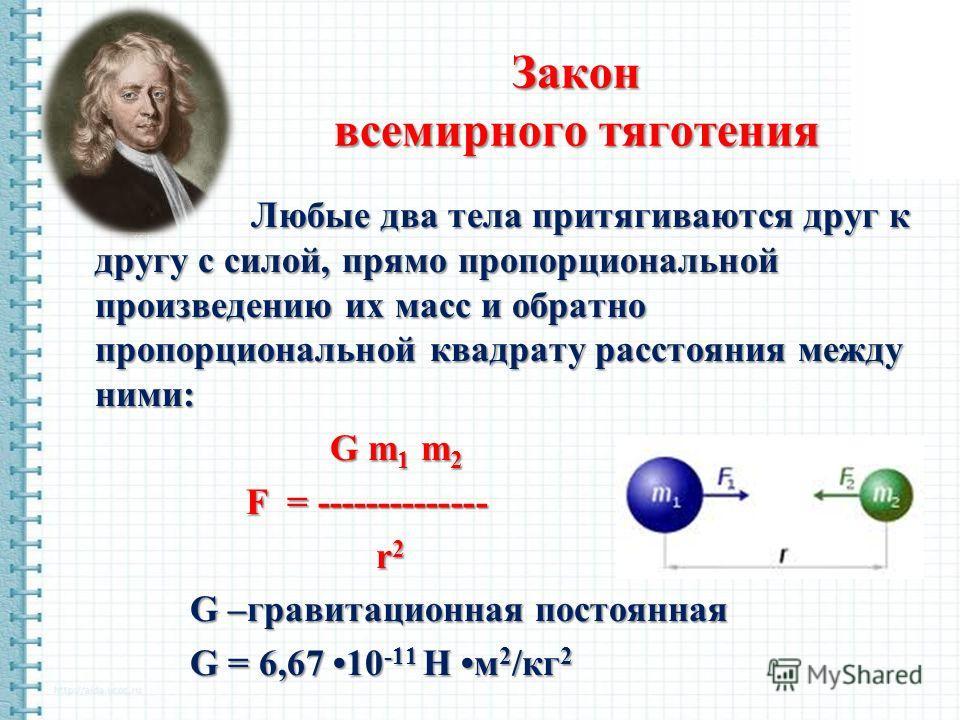 Закон всемирного тяготения Любые два тела притягиваются друг к другу с силой, прямо пропорциональной произведению их масс и обратно пропорциональной квадрату расстояния между ними: G m 1 m 2 G m 1 m 2 F = -------------- F = -------------- r 2 r 2 G –