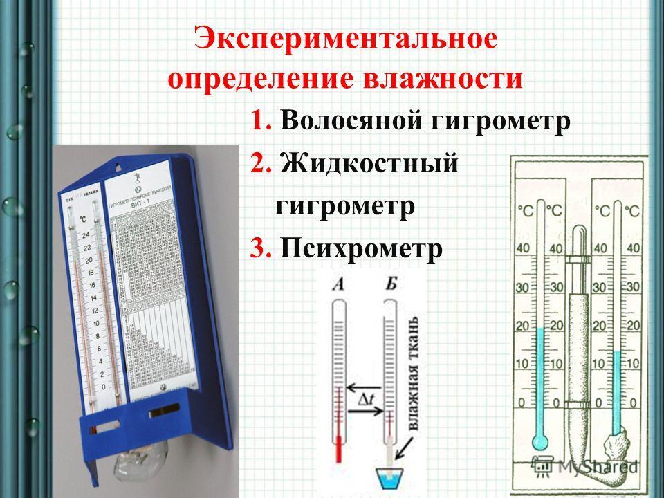 Экспериментальное определение влажности 1. Волосяной гигрометр 2. Жидкостный гигрометр 3. Психрометр