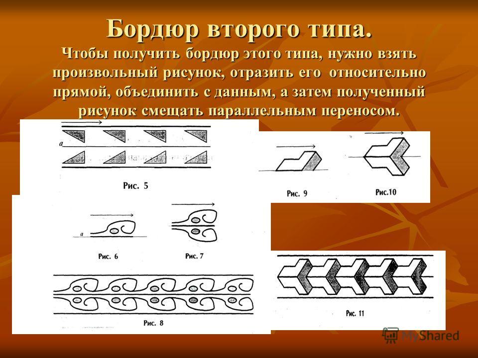 Бордюр второго типа. Чтобы получить бордюр этого типа, нужно взять произвольный рисунок, отразить его относительно прямой, объединить с данным, а затем полученный рисунок смещать параллельным переносом.