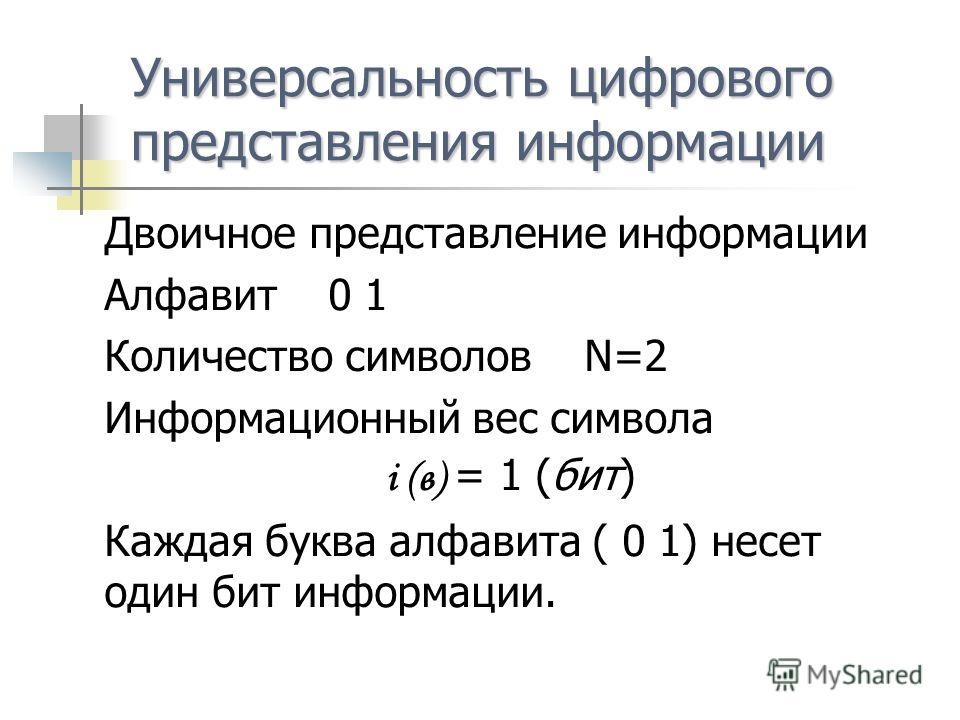 Универсальностьцифрового представления информации Универсальность цифрового представления информации Двоичное представление информации Алфавит 0 1 Количество символов N=2 Информационный вес символа i (в) = 1 (бит) Каждая буква алфавита ( 0 1) несет о