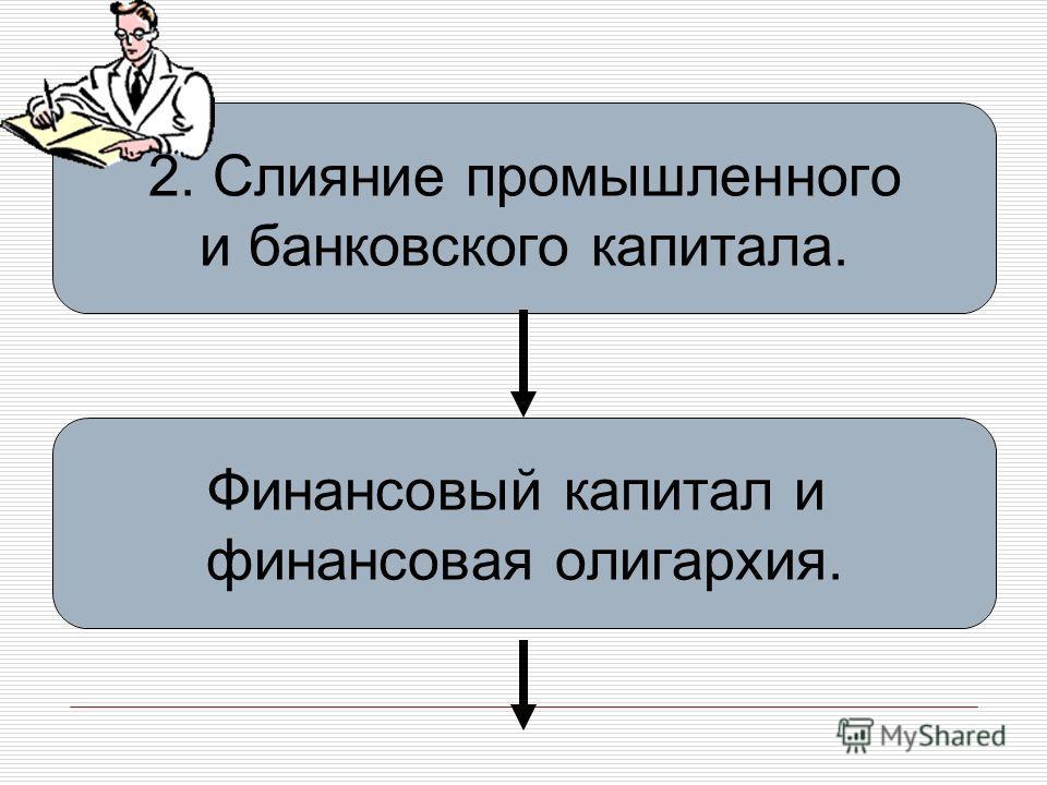 2. Слияние промышленного и банковского капитала. Финансовый капитал и финансовая олигархия.