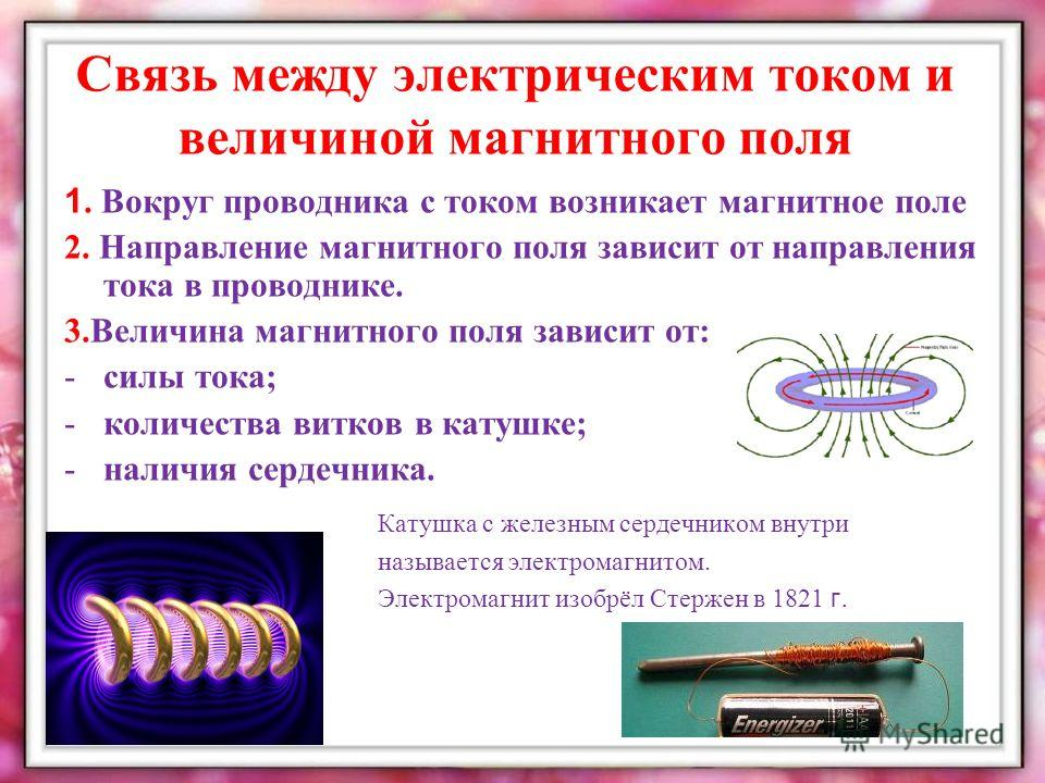 Связь между электрическим током и величиной магнитного поля 1. Вокруг проводника с током возникает магнитное поле 2. Направление магнитного поля зависит от направления тока в проводнике. 3.Величина магнитного поля зависит от: -силы тока; -количества