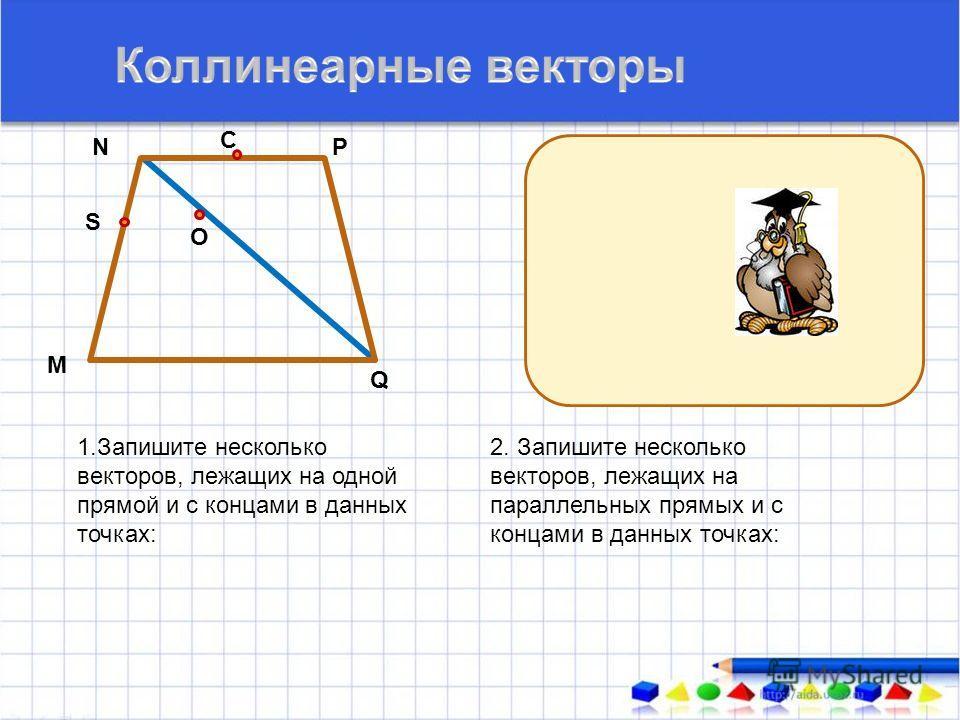 1.Запишите несколько векторов, лежащих на одной прямой и с концами в данных точках: М N С О Q P S 2. Запишите несколько векторов, лежащих на параллельных прямых и с концами в данных точках: