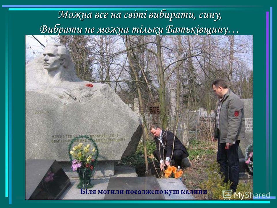 Можна все на світі вибирати, сину, Вибрати не можна тільки Батьківщину… Біля могили посаджено кущ калини