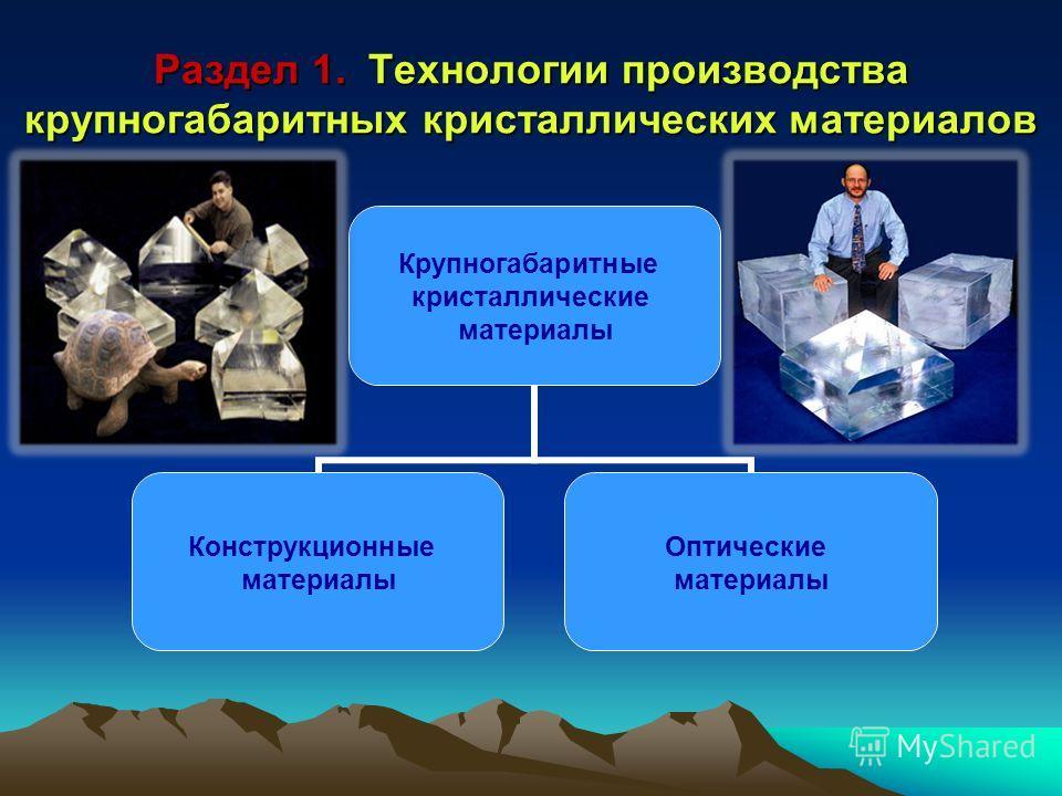Раздел 1. Технологии производства крупногабаритных кристаллических материалов Крупногабаритные кристаллические материалы Конструкционные материалы Оптические материалы