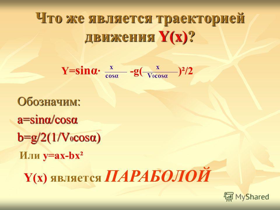 Что же является траекторией движения Y(x)? Обозначим: a=sinα/cosα b=g/2(1/V 0 cosα) Y= sinα · -g( )²/2 cosα x V 0 cosα x Или y=ax-bx² Y(x) является ПАРАБОЛОЙ