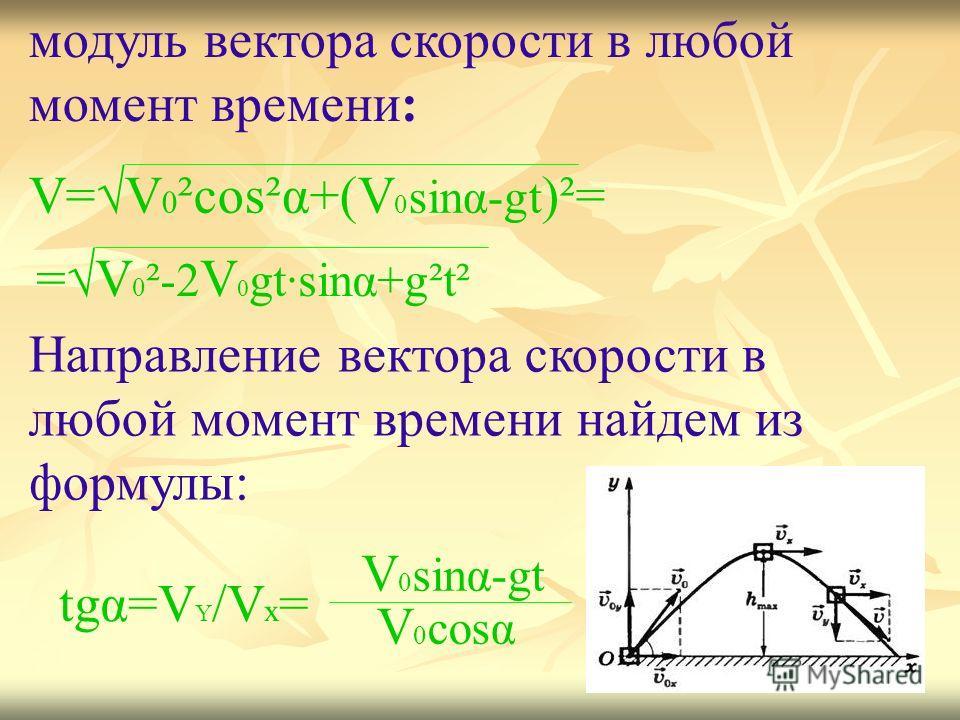 V=V 0 ²cos²α+(V 0 sinα-gt )²= =V 0 ²-2 V 0 gt·sinα+g²t² модуль вектора скорости в любой момент времени: Направление вектора скорости в любой момент времени найдем из формулы: tgα=V Y /V x = V 0 sinα-gt V 0 cosα