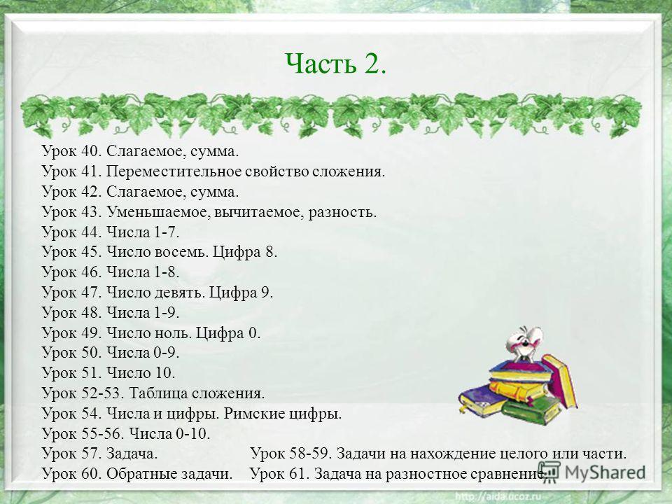 Часть 2. Урок 40. Слагаемое, сумма. Урок 41. Переместительное свойство сложения. Урок 42. Слагаемое, сумма. Урок 43. Уменьшаемое, вычитаемое, разность. Урок 44. Числа 1-7. Урок 45. Число восемь. Цифра 8. Урок 46. Числа 1-8. Урок 47. Число девять. Циф