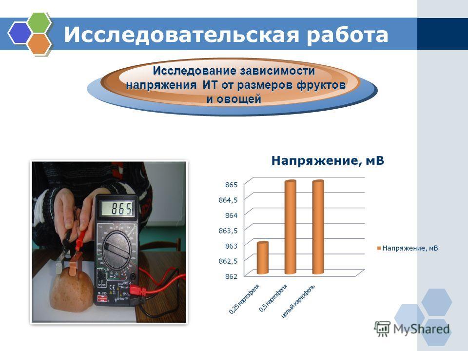 Исследовательская работа. Исследование зависимости напряжения ИТ от размеров фруктов и овощей напряжения ИТ от размеров фруктов и овощей