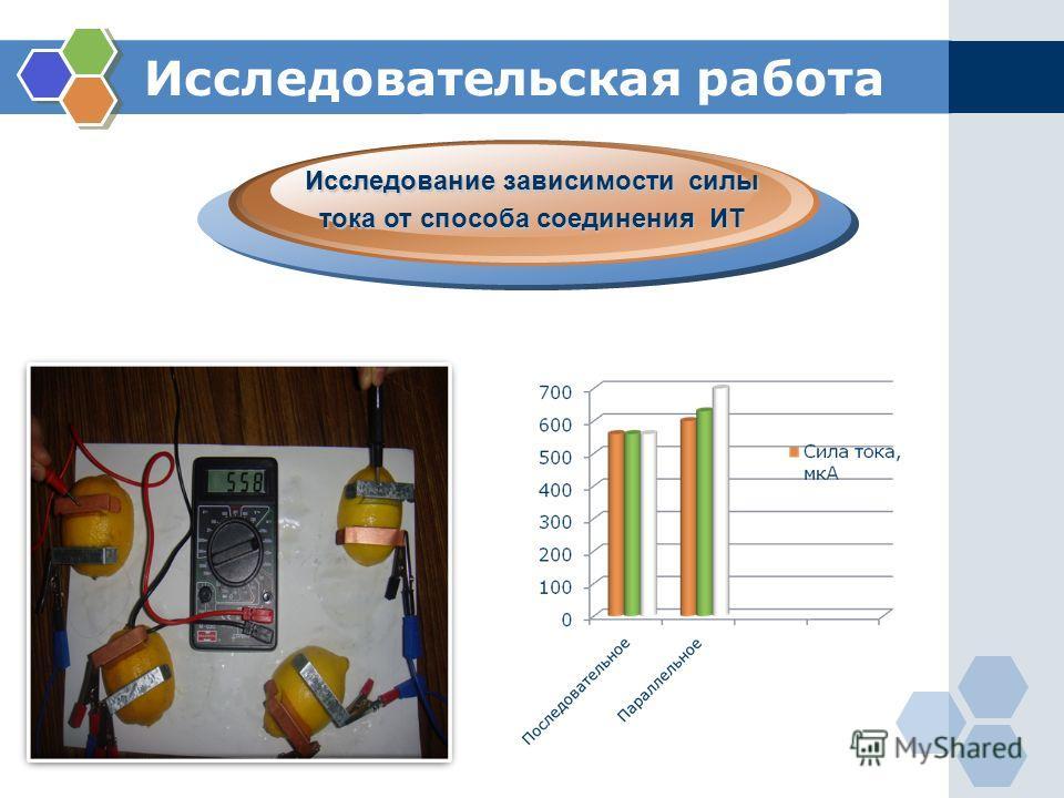 Исследовательская работа. Исследование зависимости силы тока от способа соединения ИТ