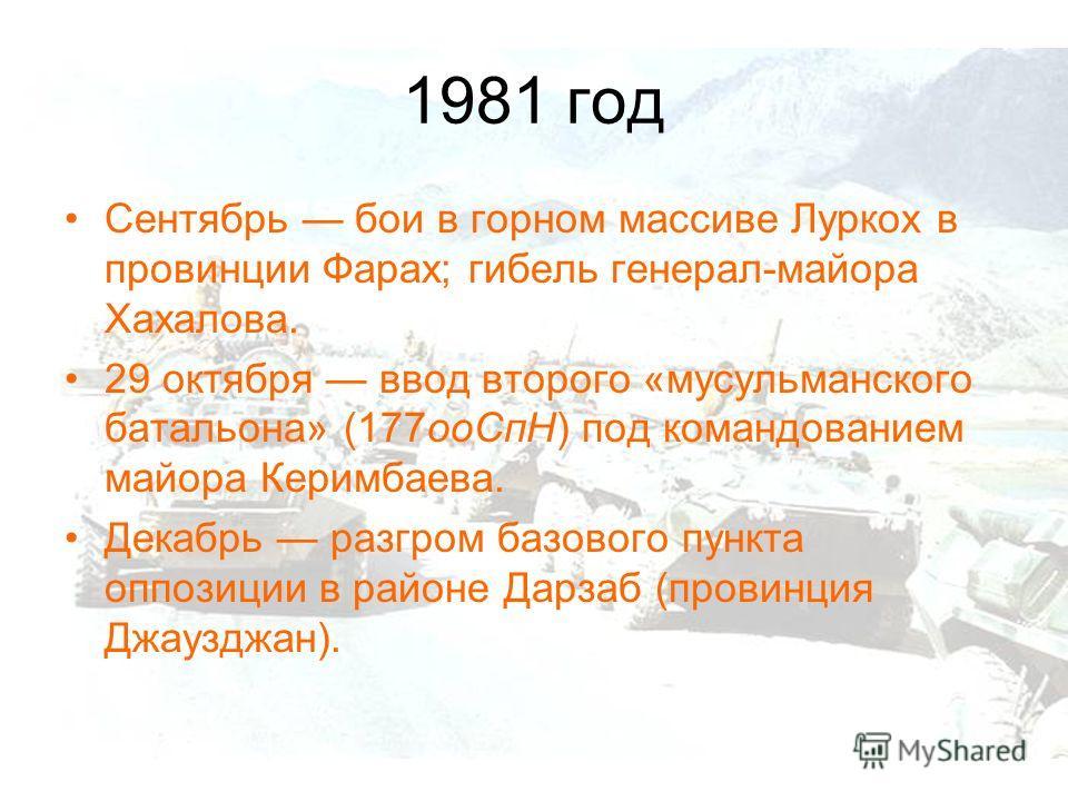 1981 год Сентябрь бои в горном массиве Луркох в провинции Фарах; гибель генерал-майора Хахалова. 29 октября ввод второго «мусульманского батальона» (177ооСпН) под командованием майора Керимбаева. Декабрь разгром базового пункта оппозиции в районе Дар