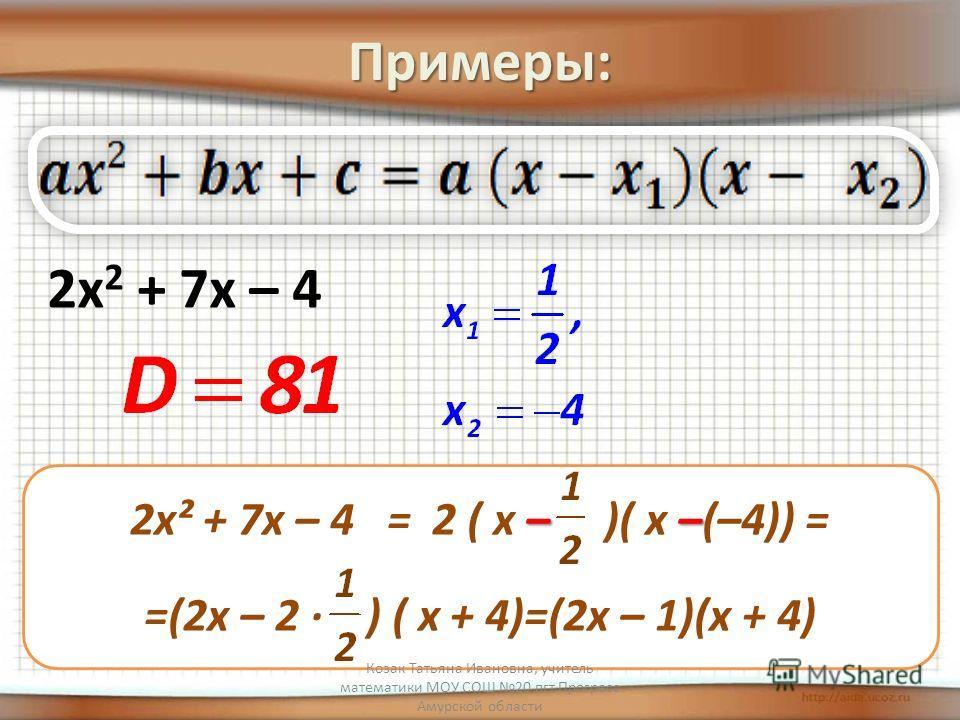 Примеры: 2х 2 + 7х – 4 –– 2х² + 7х – 4 = 2 ( х – )( х –(–4)) = =(2х – 2 · ) ( х + 4)=(2х – 1)(х + 4) Козак Татьяна Ивановна, учитель математики МОУ СОШ 20 пгт Прогресс Амурской области
