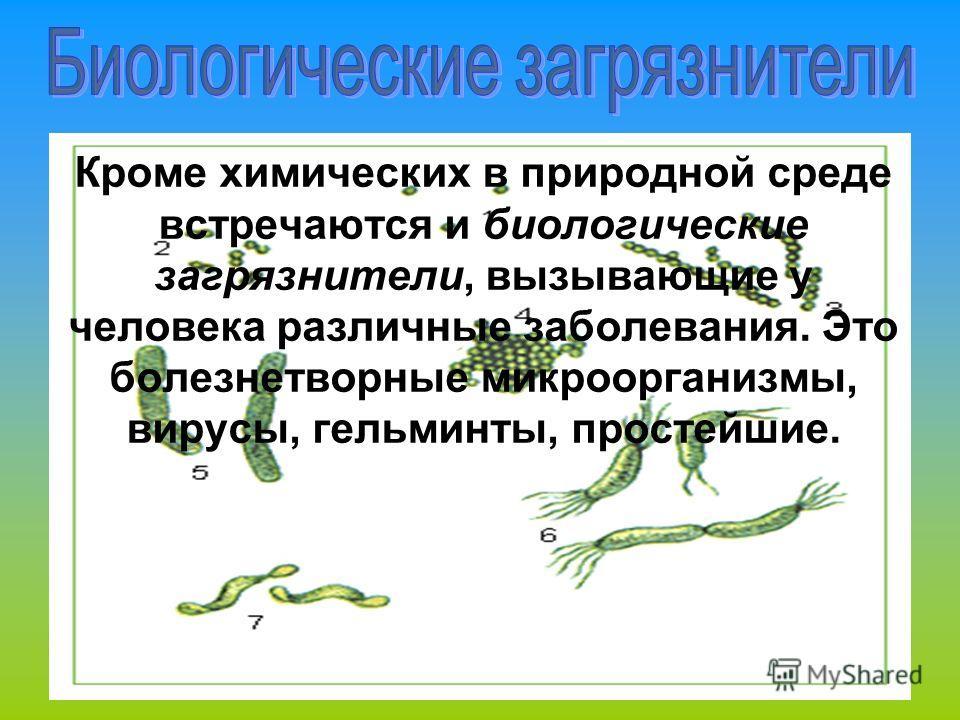 Кроме химических в природной среде встречаются и биологические загрязнители, вызывающие у человека различные заболевания. Это болезнетворные микроорганизмы, вирусы, гельминты, простейшие.
