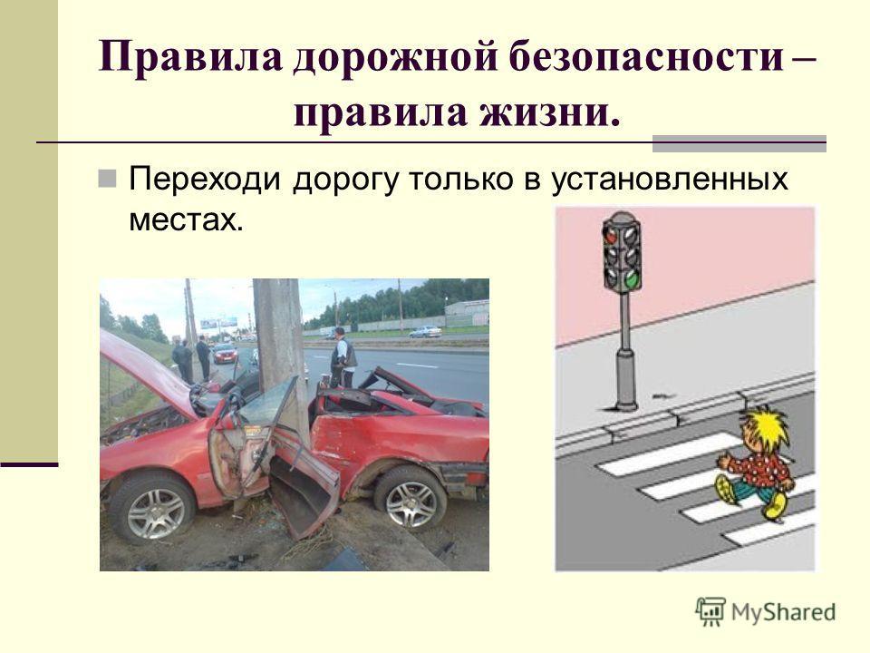 Правила дорожной безопасности – правила жизни. Переходи дорогу только в установленных местах.