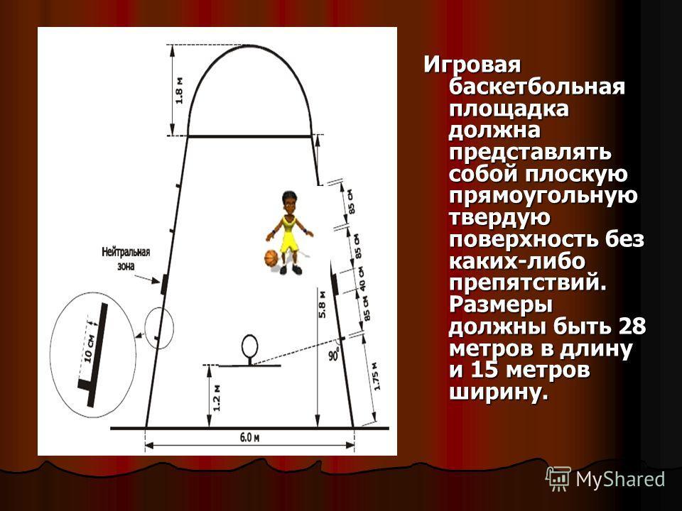Игровая баскетбольная площадка должна представлять собой плоскую прямоугольную твердую поверхность без каких-либо препятствий. Размеры должны быть 28 метров в длину и 15 метров ширину.