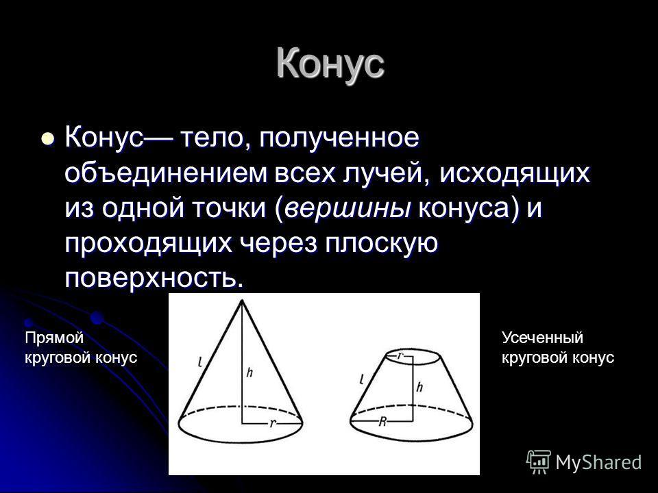 Конус Конус тело, полученное объединением всех лучей, исходящих из одной точки (вершины конуса) и проходящих через плоскую поверхность. Конус тело, полученное объединением всех лучей, исходящих из одной точки (вершины конуса) и проходящих через плоск