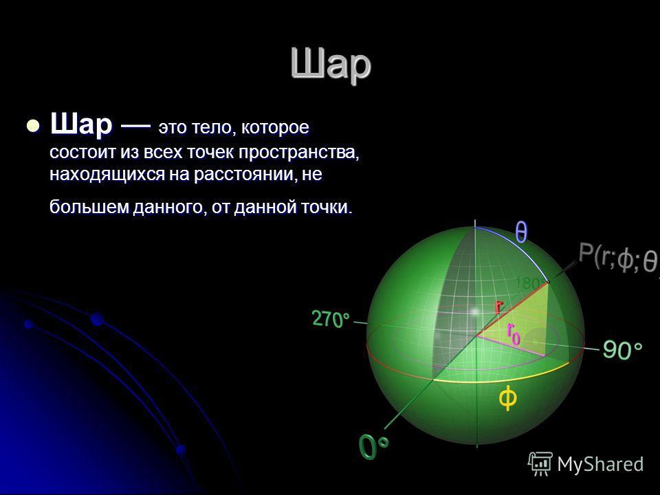 Шар Шар это тело, которое состоит из всех точек пространства, находящихся на расстоянии, не большем данного, от данной точки. Шар это тело, которое состоит из всех точек пространства, находящихся на расстоянии, не большем данного, от данной точки.