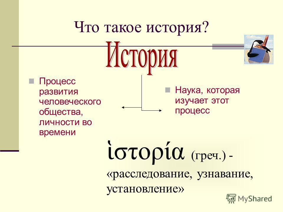 Что такое история? Процесс развития человеческого общества, личности во времени Наука, которая изучает этот процесс στορία (греч.) - «расследование, узнавание, установление»