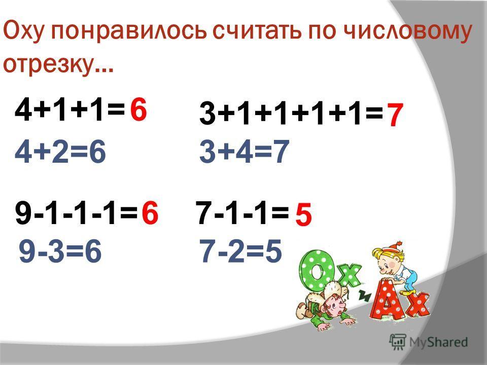 Оху понравилось считать по числовому отрезку… 4+1+1= 3+1+1+1+1= 7-1-1= 4+2=63+4=7 9-1-1-1= 9-3=67-2=5 6 7 6 5