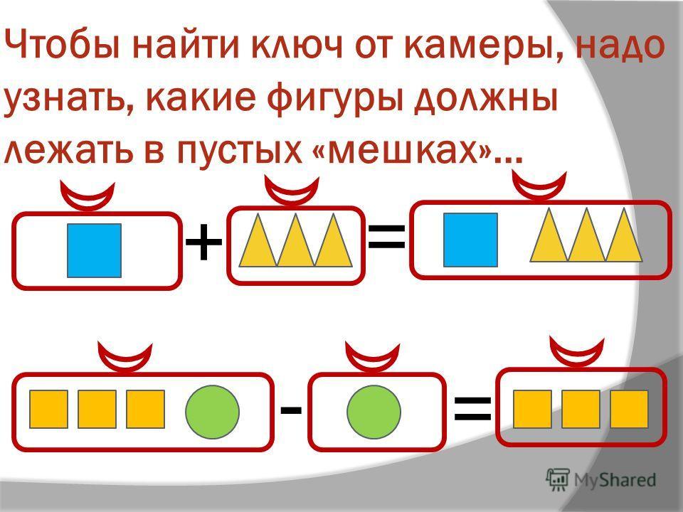 Чтобы найти ключ от камеры, надо узнать, какие фигуры должны лежать в пустых «мешках»… + = - =