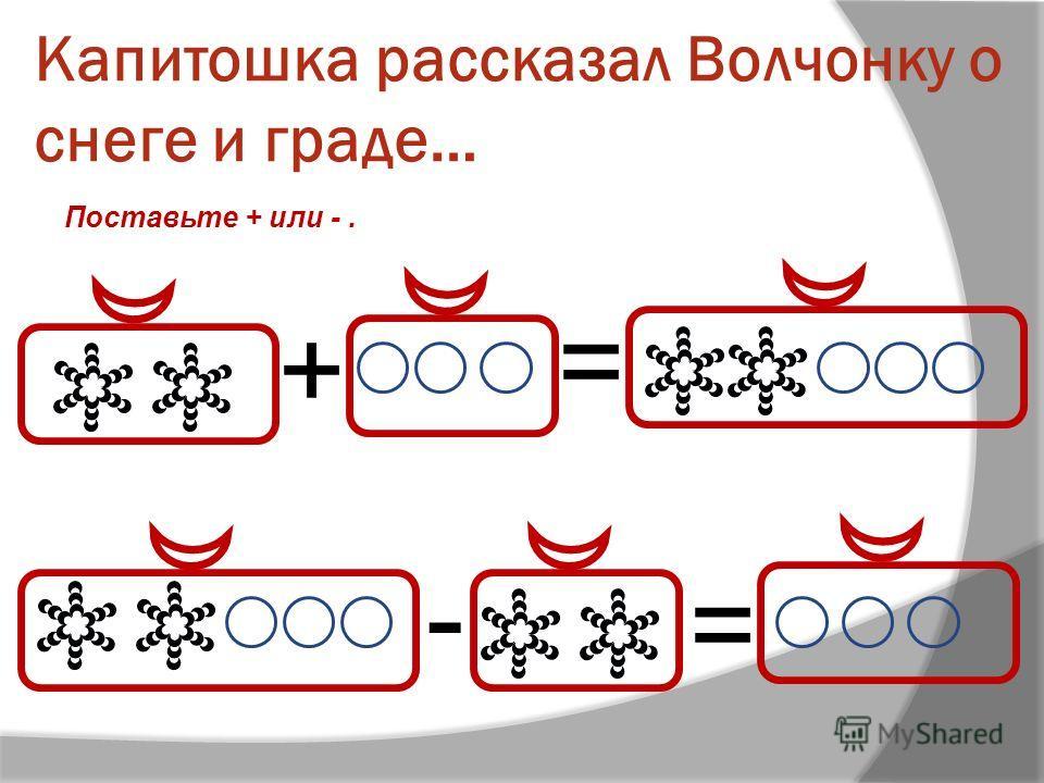Капитошка рассказал Волчонку о снеге и граде… + = - = Поставьте + или -.