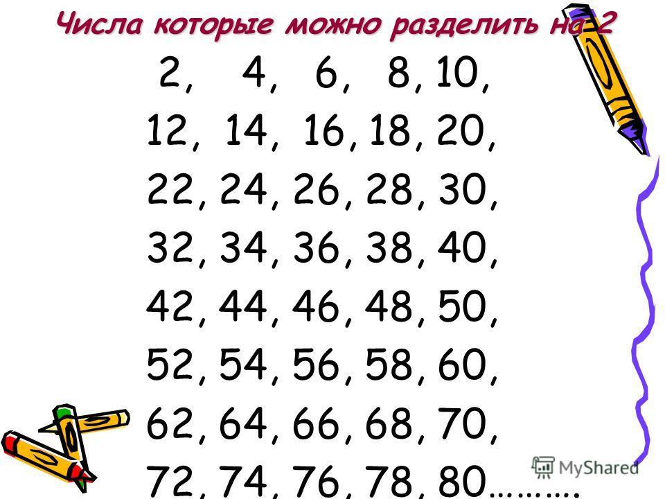 Числа которые можно разделить на 2 2, 4, 6, 8, 10, 12, 14, 16, 18, 20, 22, 24, 26, 28, 30, 32, 34, 36, 38, 40, 42, 44, 46, 48, 50, 52, 54, 56, 58, 60, 62, 64, 66, 68, 70, 72, 74, 76, 78, 80……….