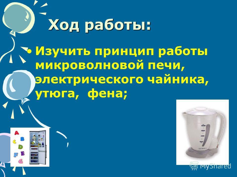 Ход работы: Изучить принцип работы микроволновой печи, электрического чайника, утюга, фена;
