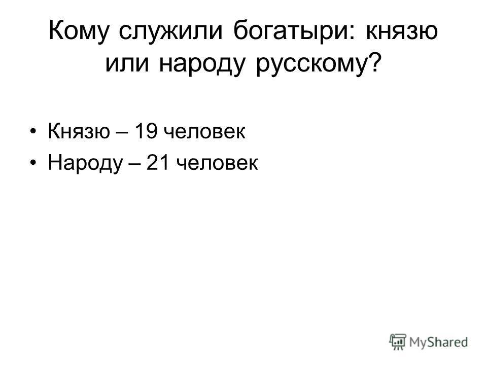 Кому служили богатыри: князю или народу русскому? Князю – 19 человек Народу – 21 человек