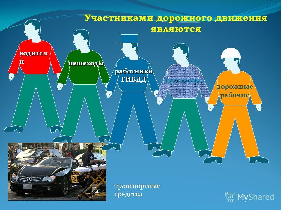 Участниками дорожного движения являются транспортные средства водител и пешеходы работники ГИБДД пассажиры дорожные рабочие