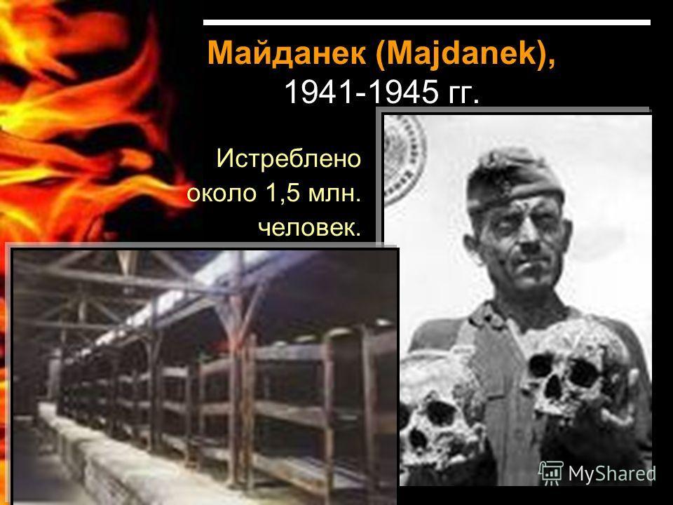Майданек (Majdanek), 1941-1945 гг. Истреблено около 1,5 млн. человек.