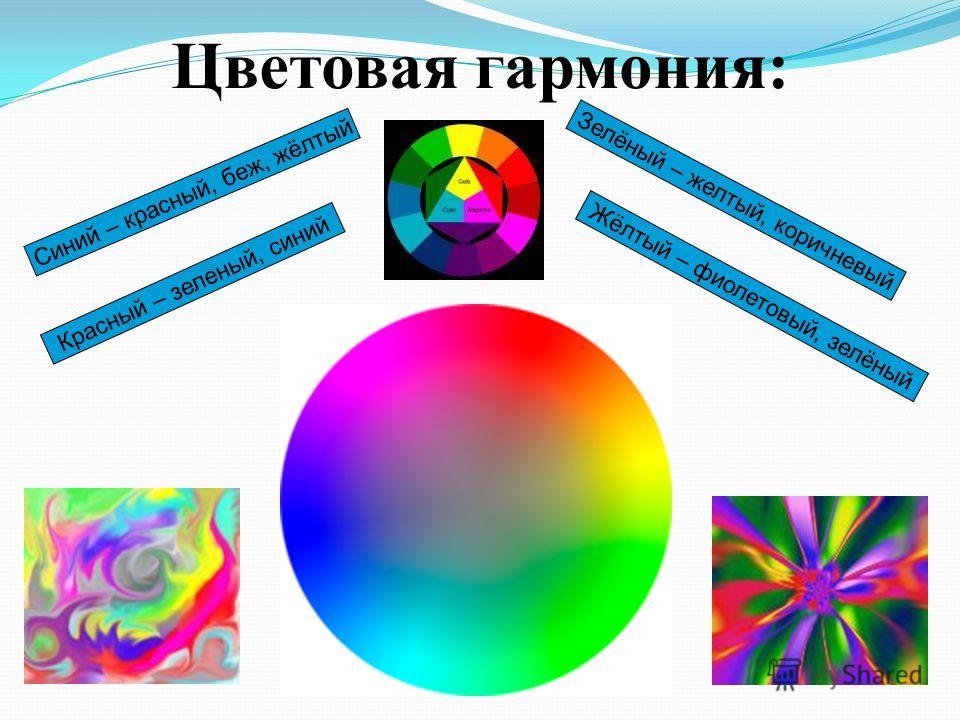 Цветовая гармония: Синий – красный, беж, жёлтый Красный – зеленый, синий Зелёный – желтый, коричневый Жёлтый – фиолетовый, зелёный