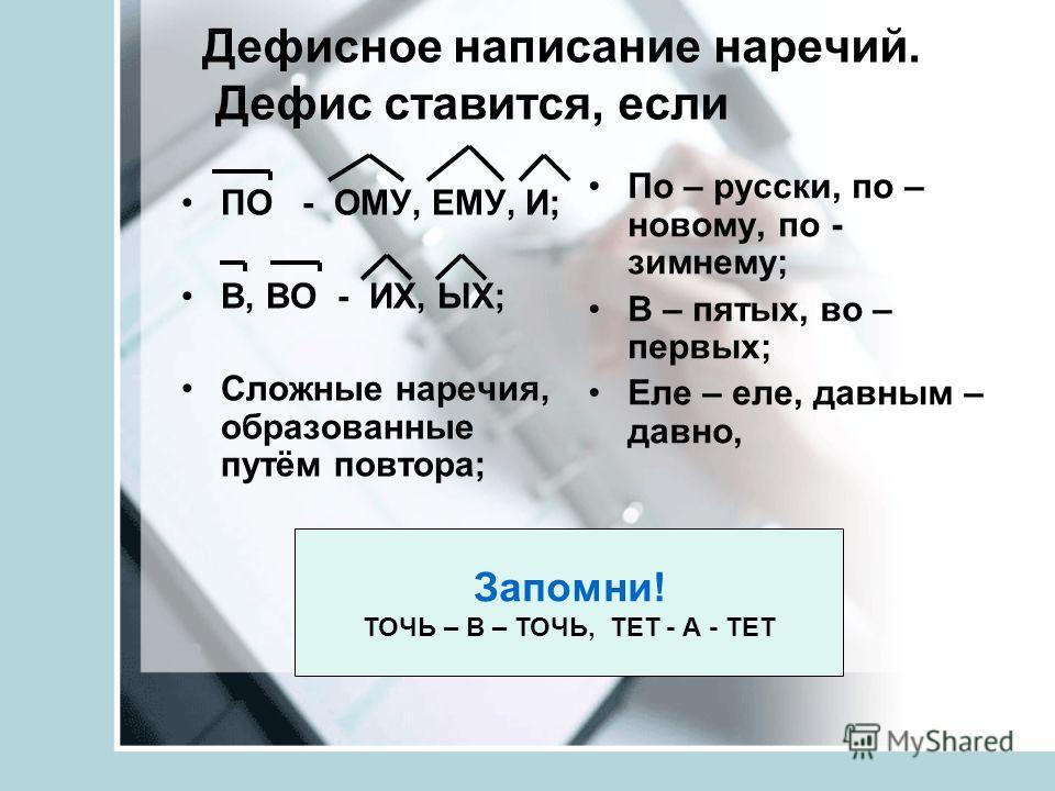 Дефисное написание наречий. Дефис ставится, если ПО - ОМУ, ЕМУ, И; В, ВО - ИХ, ЫХ; Сложные наречия, образованные путём повтора; По – русски, по – новому, по - зимнему; В – пятых, во – первых; Еле – еле, давным – давно, Запомни! ТОЧЬ – В – ТОЧЬ, ТЕТ -
