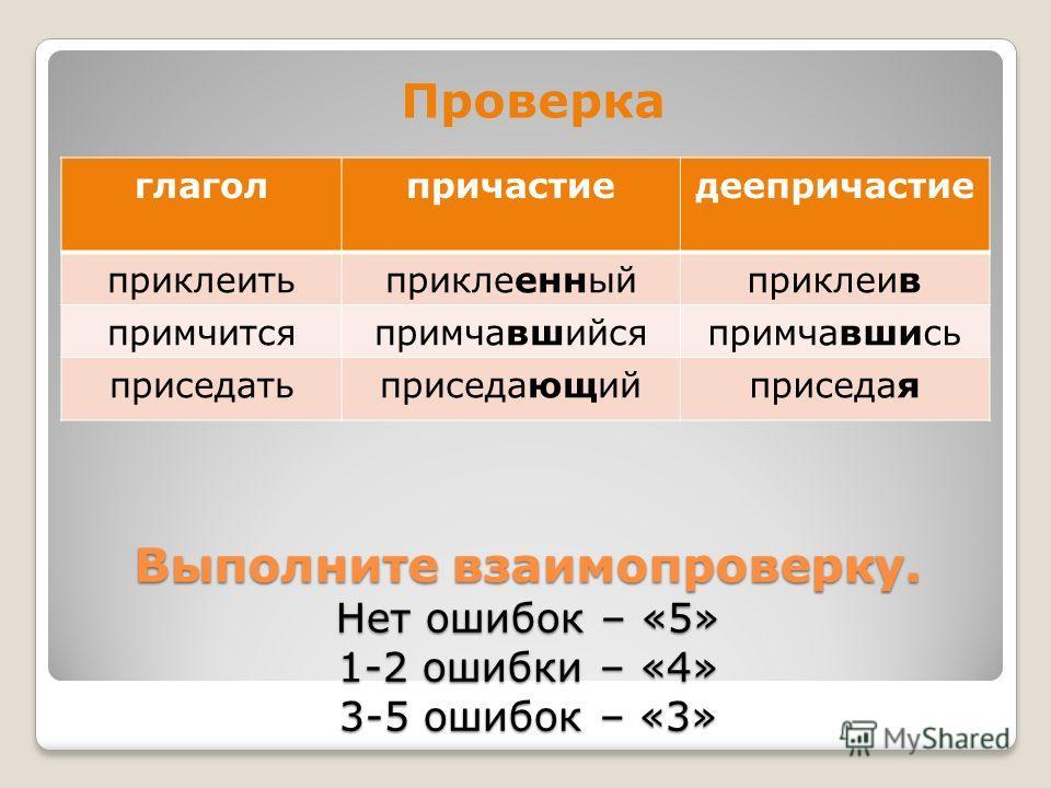 Выполните взаимопроверку. Нет ошибок – «5» 1-2 ошибки – «4» 3-5 ошибок – «3» Проверка глаголпричастиедеепричастие приклеитьприклеенныйприклеив примчитсяпримчавшийсяпримчавшись приседатьприседающийприседая