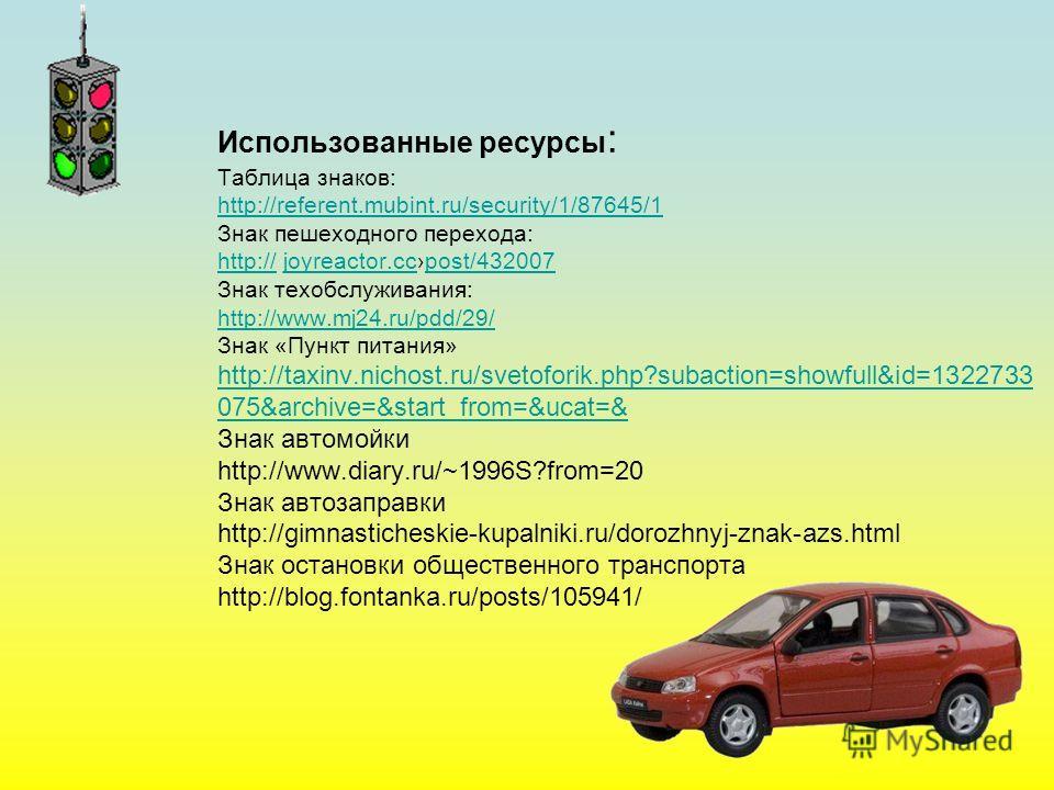 Использованные ресурсы : Таблица знаков: http://referent.mubint.ru/security/1/87645/1 Знак пешеходного перехода: http:// joyreactor.ccpost/432007 Знак техобслуживания: http://www.mj24.ru/pdd/29/ Знак «Пункт питания» http://taxinv.nichost.ru/svetofori