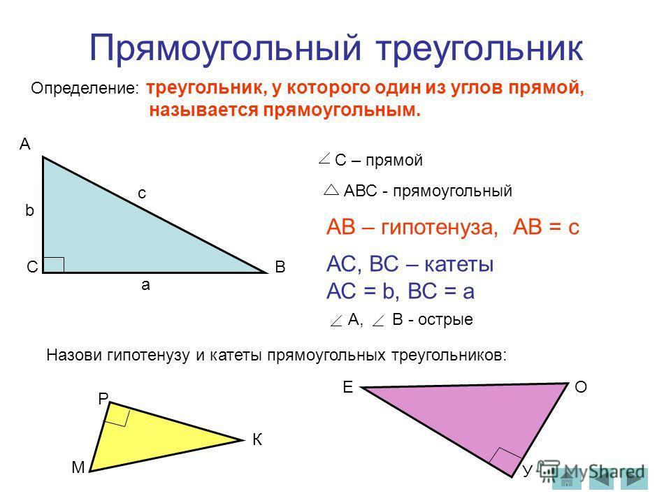 С – прямой АВС - прямоугольный Определение: треугольник, у которого один из углов прямой, называется прямоугольным. АВ – гипотенуза, АВ = с АС, ВС – катеты АС = b, ВС = а А, В - острые Назови гипотенузу и катеты прямоугольных треугольников: A CВ с а