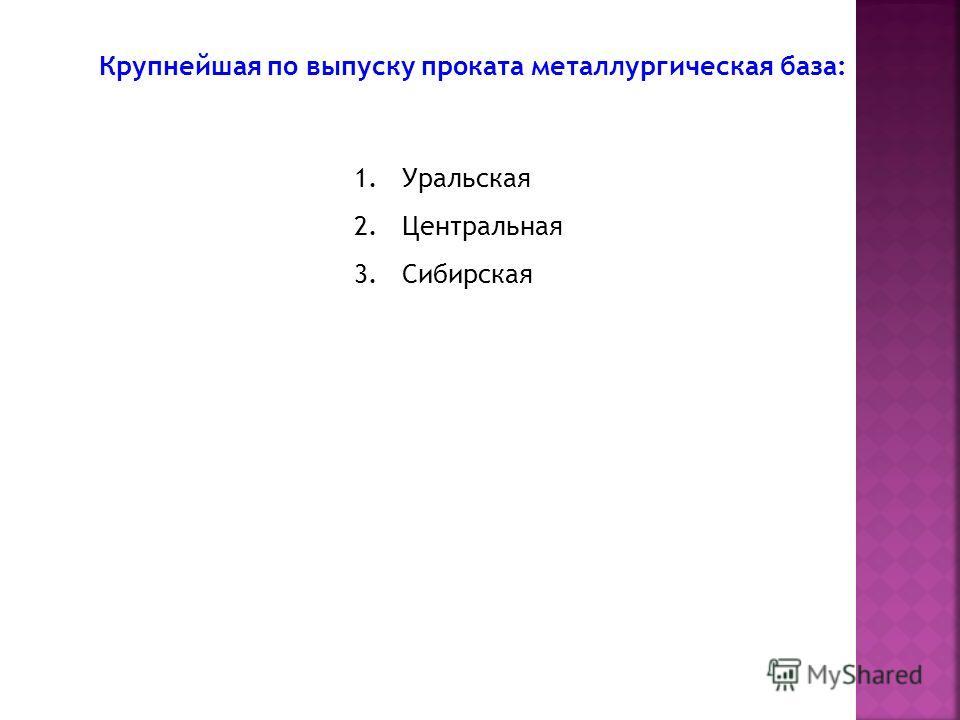 Крупнейшая по выпуску проката металлургическая база: 1.Уральская 2.Центральная 3.Сибирская