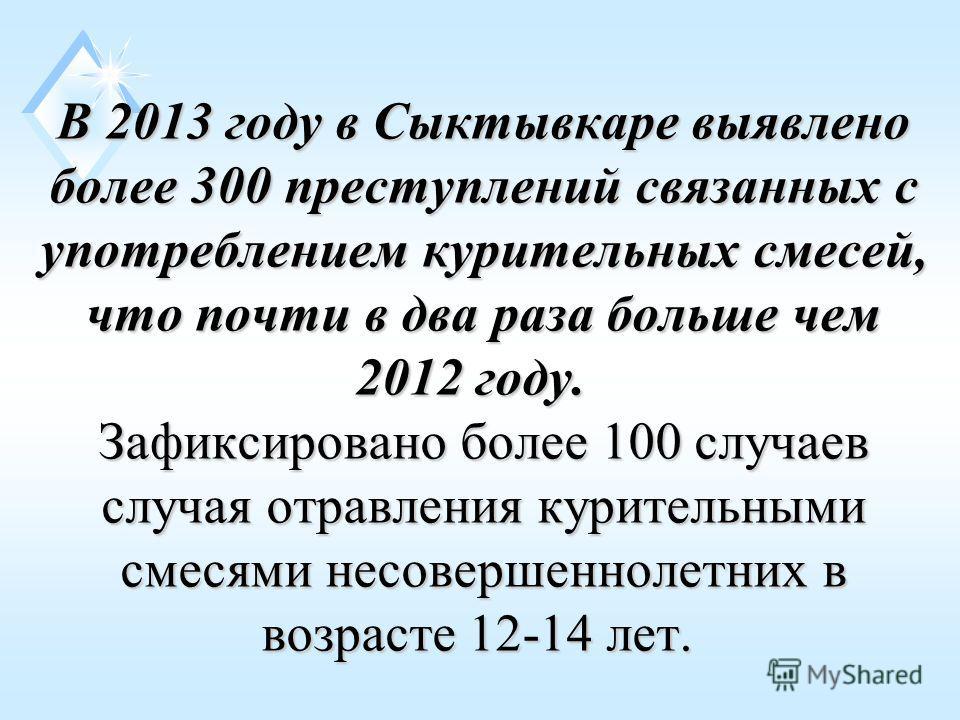 В 2013 году в Сыктывкаре выявлено более 300 преступлений связанных с употреблением курительных смесей, что почти в два раза больше чем 2012 году. Зафиксировано более 100 случаев случая отравления курительными смесями несовершеннолетних в возрасте 12-