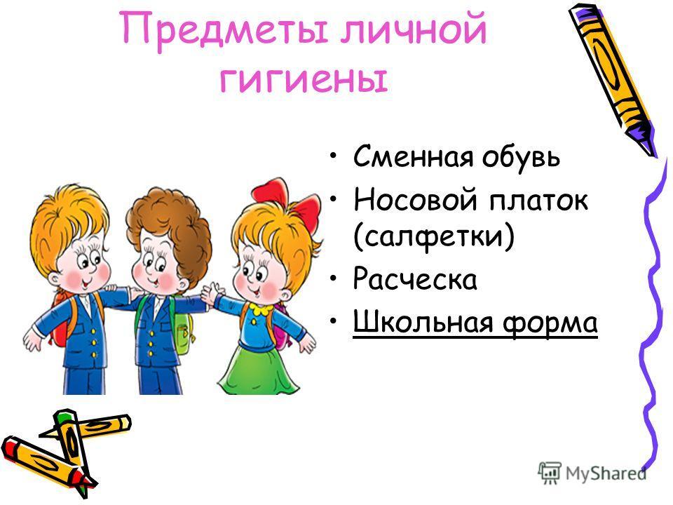 Предметы личной гигиены Сменная обувь Носовой платок (салфетки) Расческа Школьная форма