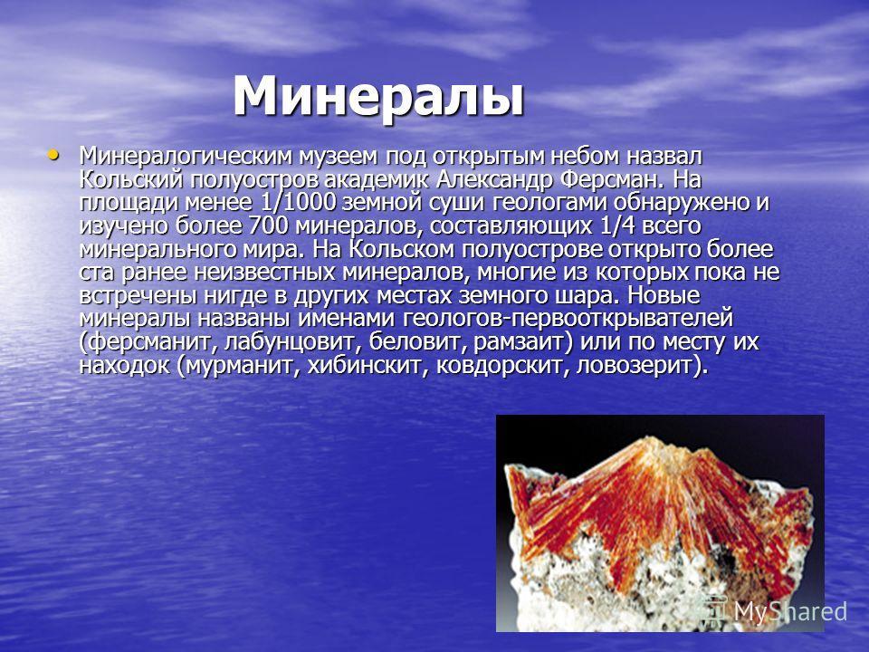 Минералы Минералогическим музеем под открытым небом назвал Кольский полуостров академик Александр Ферсман. На площади менее 1/1000 земной суши геологами обнаружено и изучено более 700 минералов, составляющих 1/4 всего минерального мира. На Кольском п