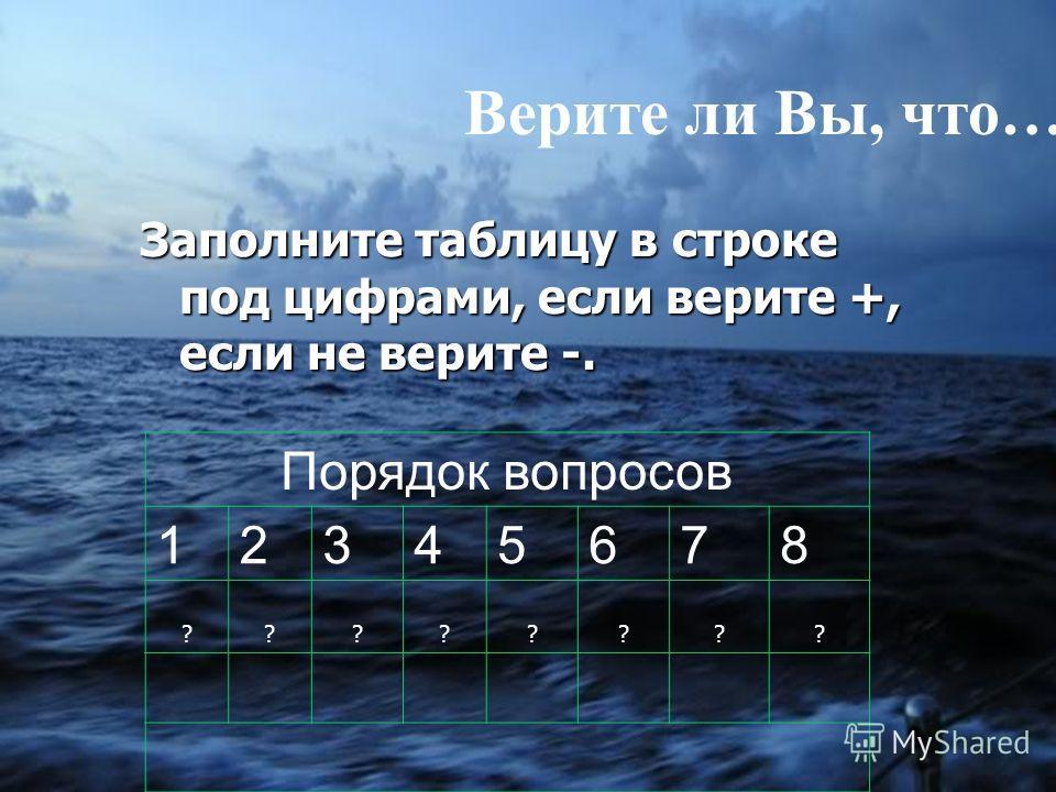 Верите ли Вы, что… Заполните таблицу в строке под цифрами, если верите +, если не верите -. Порядок вопросов 12345678 ????????