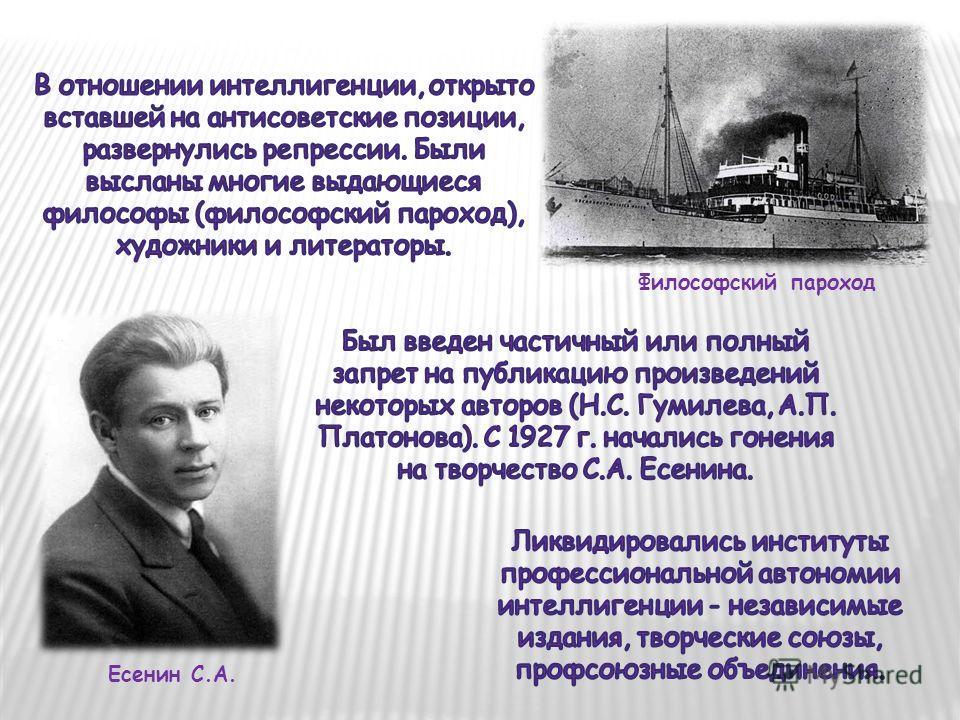 Философский пароход Есенин С.А.