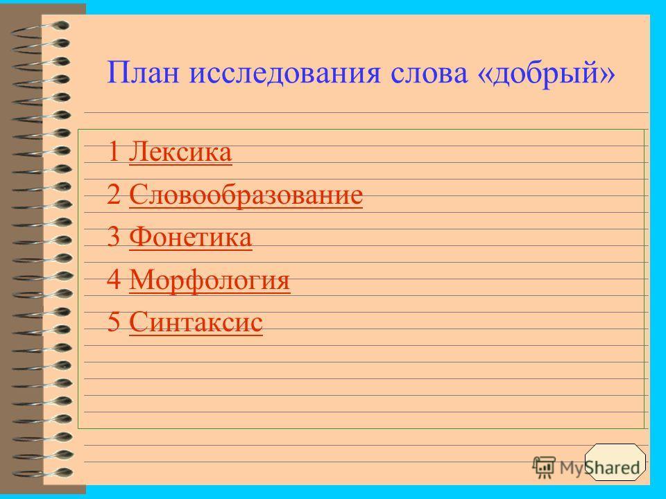План исследования слова «добрый» 1 ЛексикаЛексика 2 СловообразованиеСловообразование 3 ФонетикаФонетика 4 МорфологияМорфология 5 СинтаксисСинтаксис