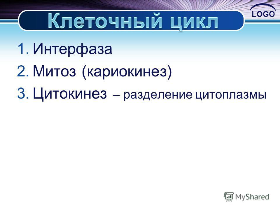 LOGO 1.Интерфаза 2.Митоз (кариокинез) 3.Цитокинез – разделение цитоплазмы