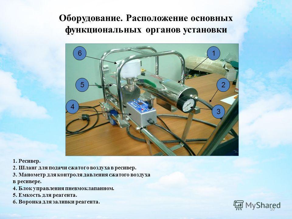 10 Оборудование. Расположение основных функциональных органов установки 16 5 4 3 2 1. Ресивер. 2. Шланг для подачи сжатого воздуха в ресивер. 3. Манометр для контроля давления сжатого воздуха в ресивере. 4. Блок управления пневмоклапанном. 5. Емкость