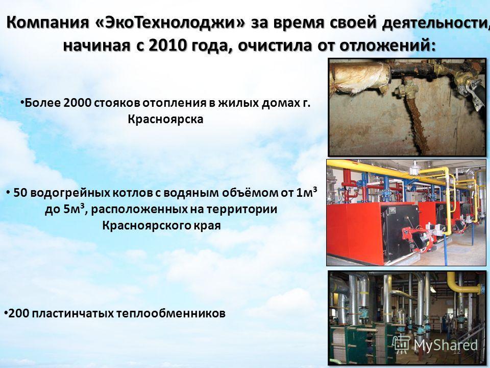Компания «ЭкоТехнолоджи» за время своей деятельности, начиная с 2010 года, очистила от отложений: Более 2000 стояков отопления в жилых домах г. Красноярска 50 водогрейных котлов с водяным объёмом от 1м³ до 5м³, расположенных на территории Красноярско