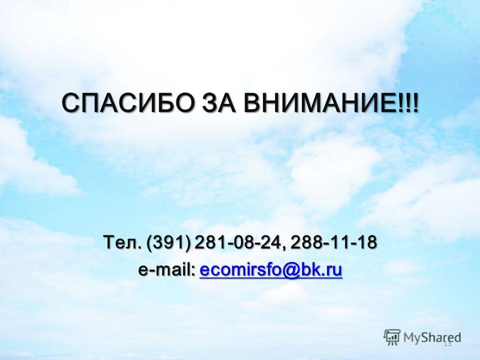 СПАСИБО ЗА ВНИМАНИЕ!!! Тел. (391) 281-08-24, 288-11-18 e-mail: ecomirsfo@bk.ru ecomirsfo@bk.ru 13
